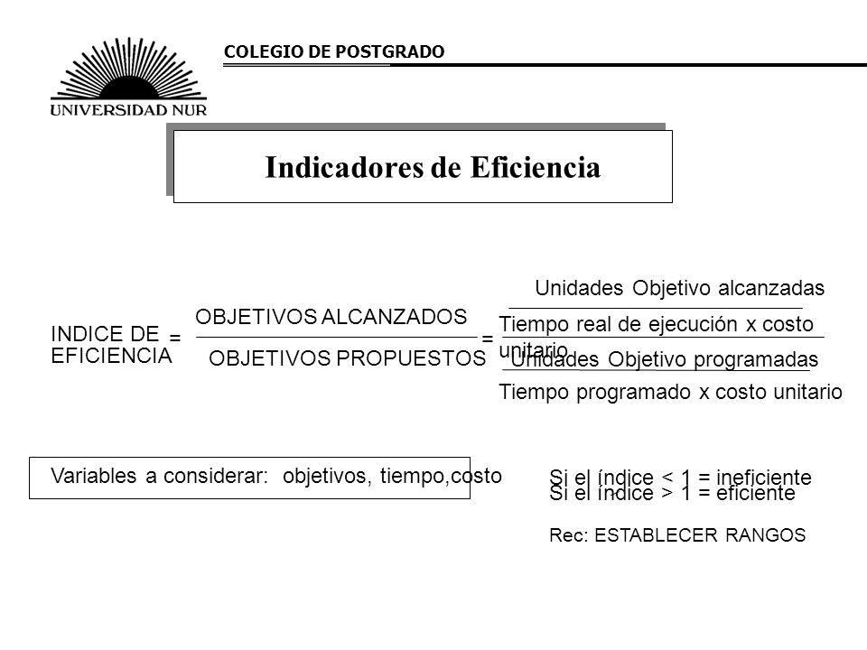 COLEGIO DE POSTGRADO Indicadores de Eficiencia INDICE DE EFICIENCIA = OBJETIVOS PROPUESTOS OBJETIVOS ALCANZADOS Unidades Objetivo alcanzadas Tiempo re