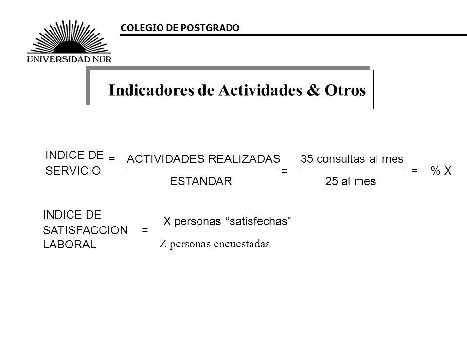 COLEGIO DE POSTGRADO Indicadores de Actividades & Otros INDICE DE SERVICIO = ESTANDAR ACTIVIDADES REALIZADAS = 25 al mes 35 consultas al mes =% X INDI