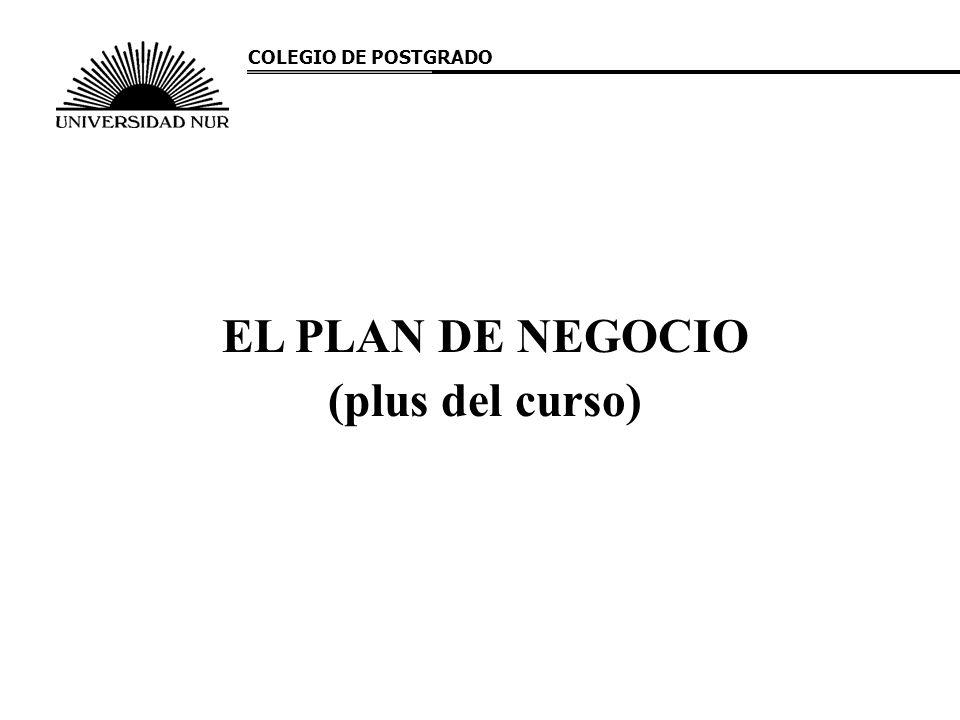 EL PLAN DE NEGOCIO (plus del curso) COLEGIO DE POSTGRADO