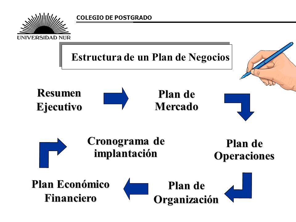 Estructura de un Plan de Negocios Resumen Ejecutivo Plan de Mercado Plan de Operaciones Cronograma de implantación Plan de Organización Plan Económico