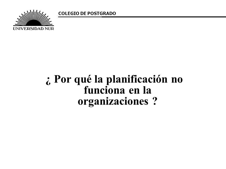 ¿ Por qué la planificación no funciona en la organizaciones ? COLEGIO DE POSTGRADO