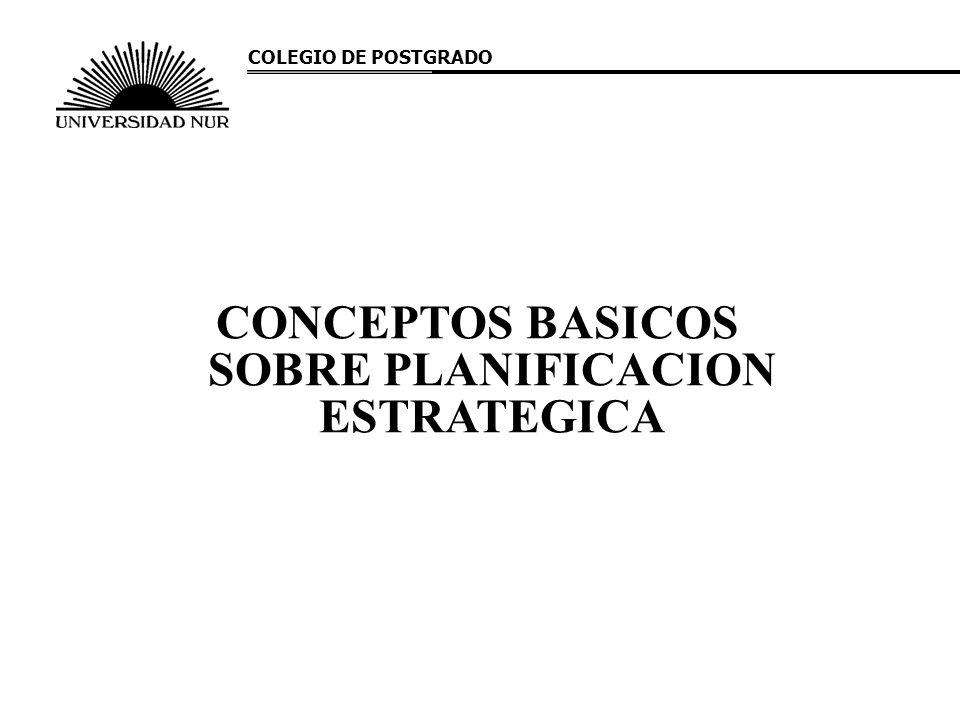 CONCEPTOS BASICOS SOBRE PLANIFICACION ESTRATEGICA COLEGIO DE POSTGRADO