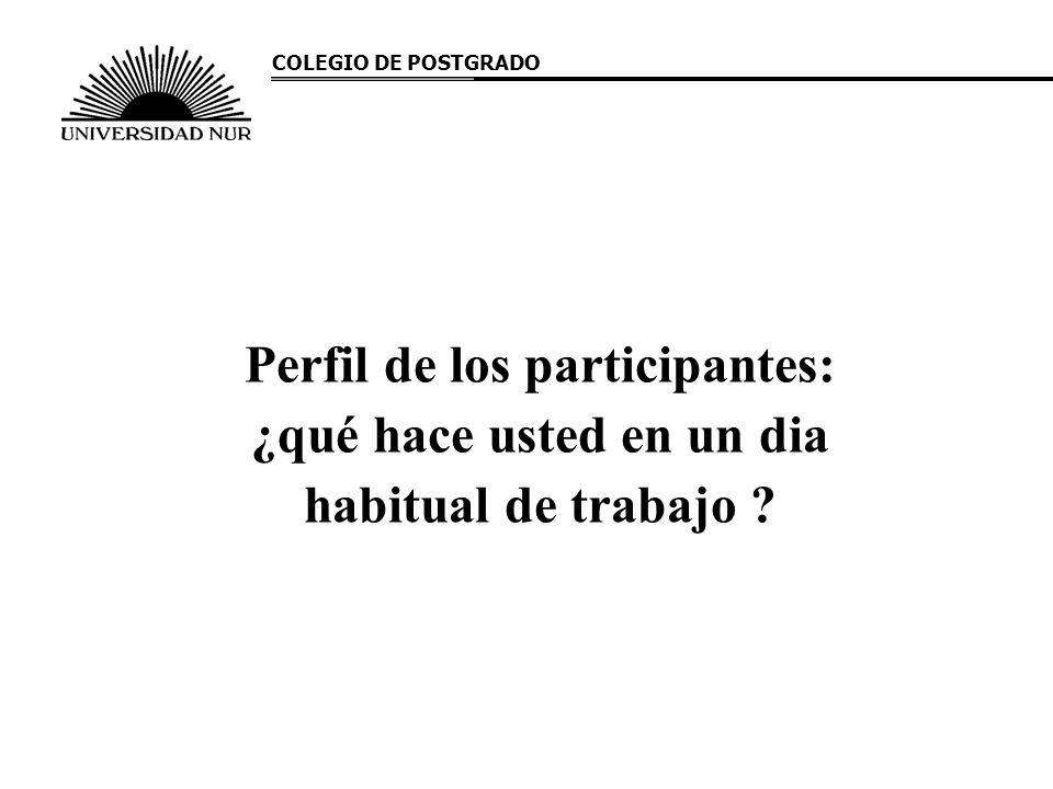 Perfil de los participantes: ¿qué hace usted en un dia habitual de trabajo ? COLEGIO DE POSTGRADO