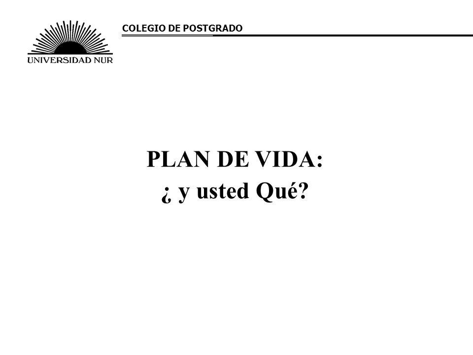 PLAN DE VIDA: ¿ y usted Qué? COLEGIO DE POSTGRADO