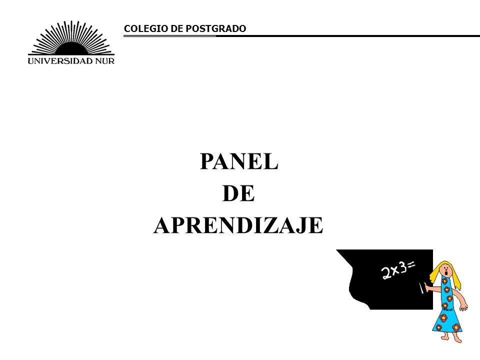 PANEL DE APRENDIZAJE COLEGIO DE POSTGRADO