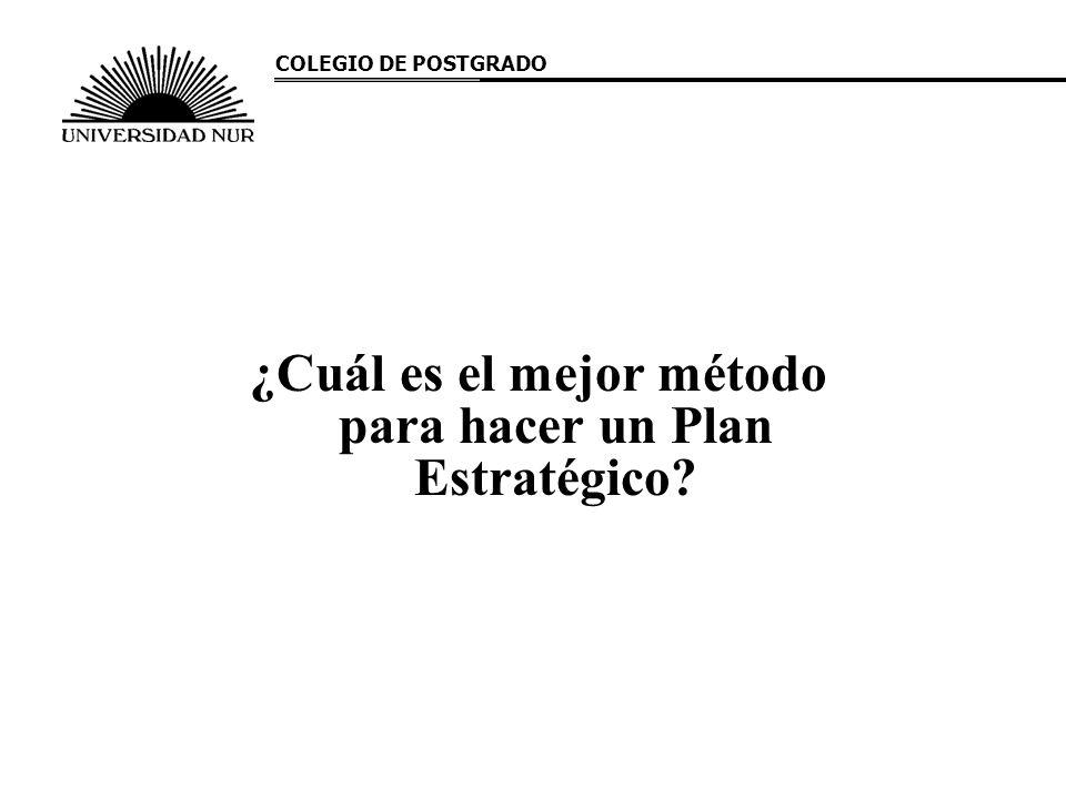¿Cuál es el mejor método para hacer un Plan Estratégico? COLEGIO DE POSTGRADO