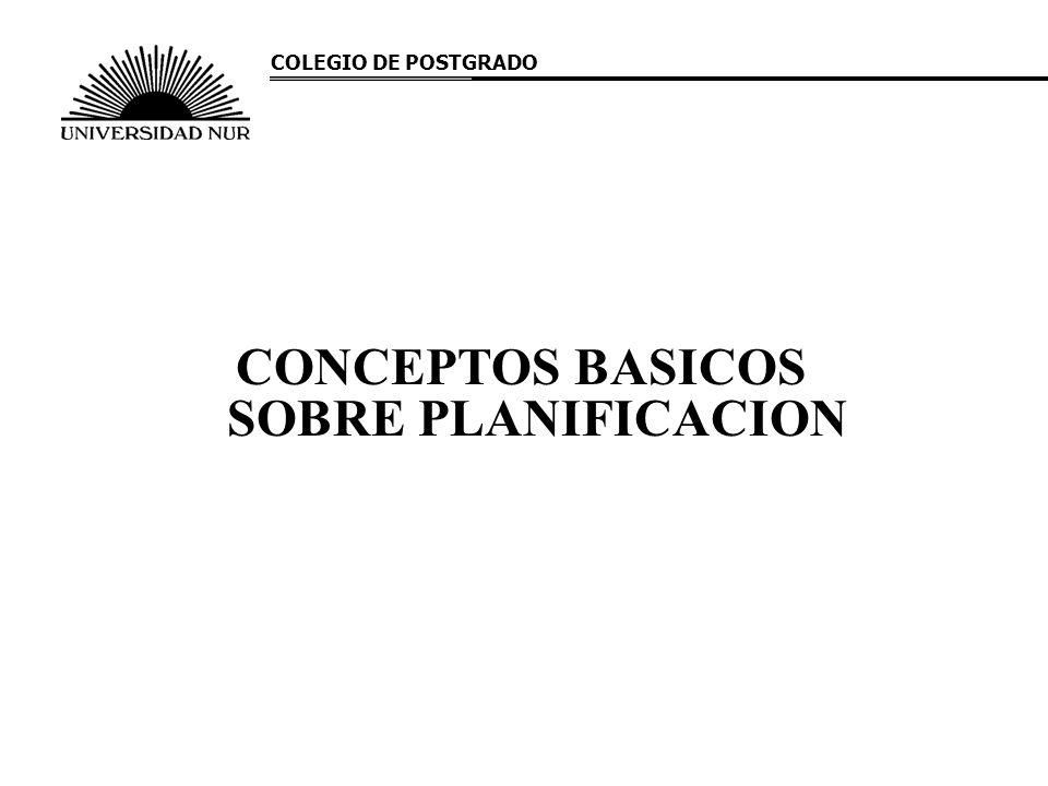 CONCEPTOS BASICOS SOBRE PLANIFICACION COLEGIO DE POSTGRADO