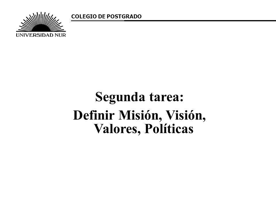 Segunda tarea: Definir Misión, Visión, Valores, Políticas COLEGIO DE POSTGRADO