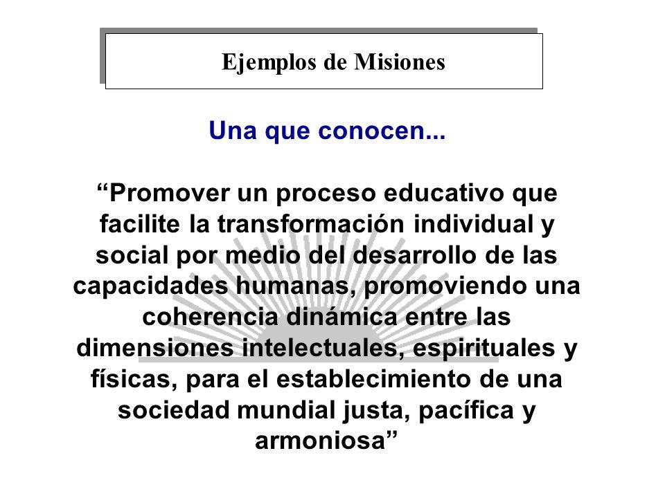 Una que conocen... Promover un proceso educativo que facilite la transformación individual y social por medio del desarrollo de las capacidades humana
