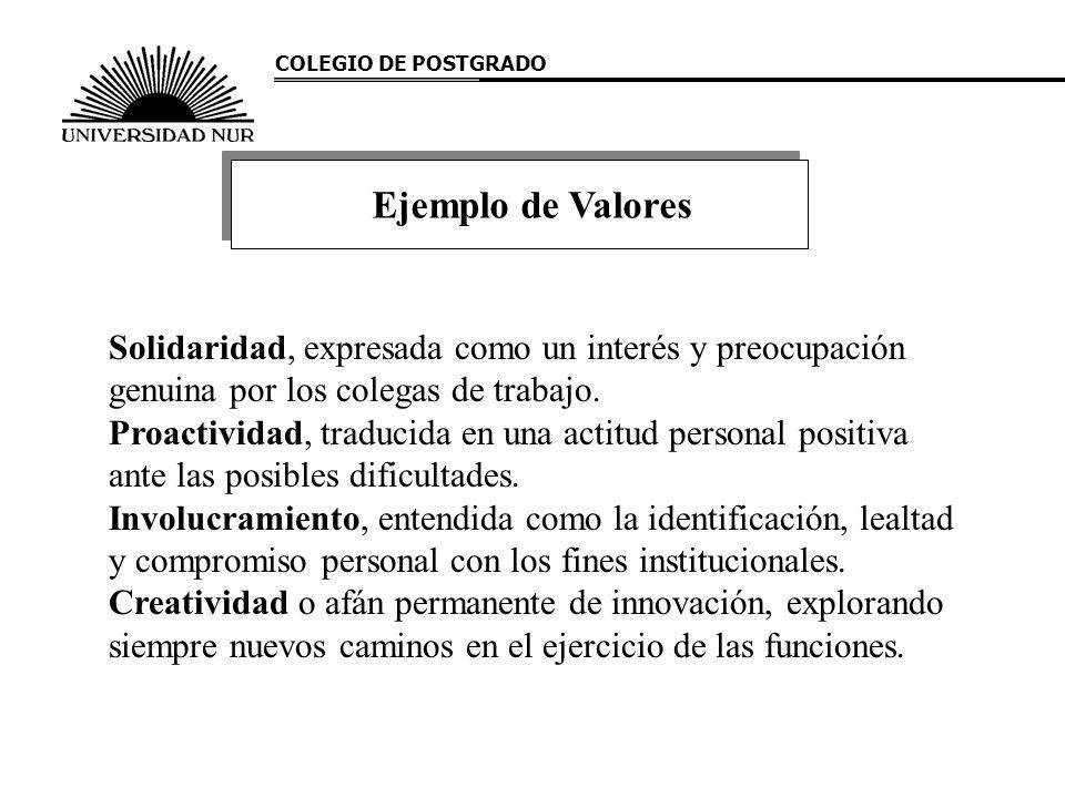 COLEGIO DE POSTGRADO Solidaridad, expresada como un interés y preocupación genuina por los colegas de trabajo. Proactividad, traducida en una actitud
