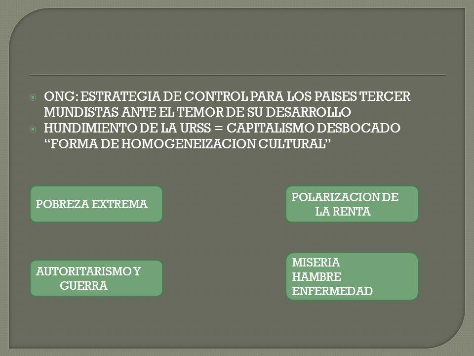 ONG: ESTRATEGIA DE CONTROL PARA LOS PAISES TERCER MUNDISTAS ANTE EL TEMOR DE SU DESARROLLO HUNDIMIENTO DE LA URSS = CAPITALISMO DESBOCADO FORMA DE HOMOGENEIZACION CULTURAL AUTORITARISMO Y GUERRA POBREZA EXTREMA POLARIZACION DE LA RENTA MISERIA HAMBRE ENFERMEDAD