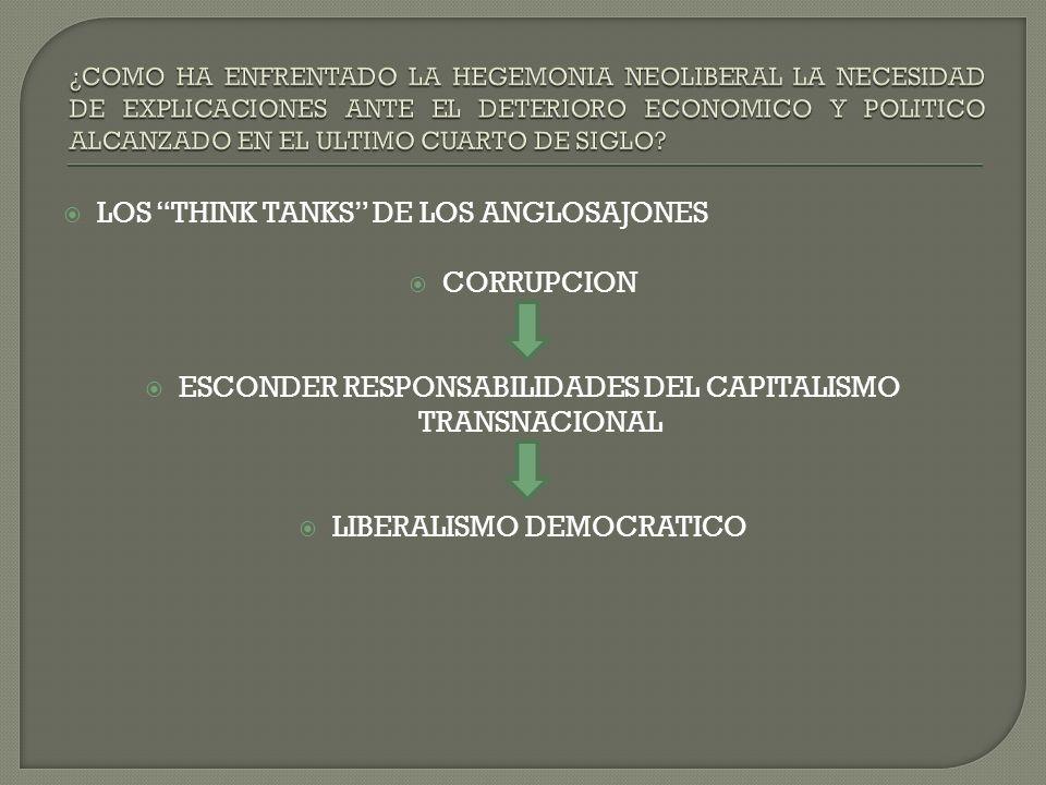 LOS THINK TANKS DE LOS ANGLOSAJONES CORRUPCION ESCONDER RESPONSABILIDADES DEL CAPITALISMO TRANSNACIONAL LIBERALISMO DEMOCRATICO