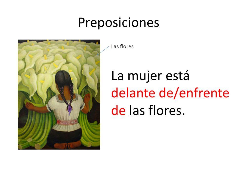 Preposiciones La mujer está delante de/enfrente de las flores. Las flores