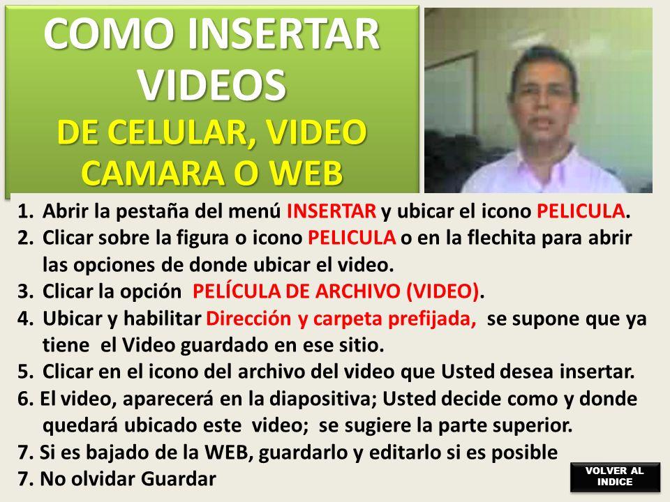 COMO INSERTAR VIDEOS DE CELULAR, VIDEO CAMARA O WEB COMO INSERTAR VIDEOS DE CELULAR, VIDEO CAMARA O WEB 1.Abrir la pestaña del menú INSERTAR y ubicar el icono PELICULA.