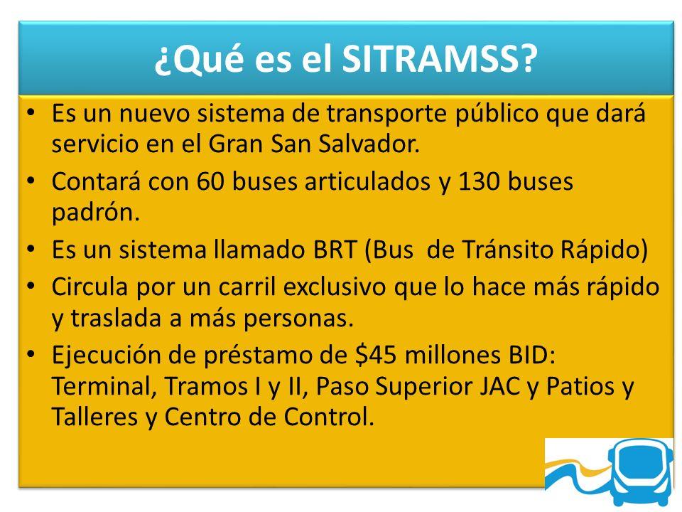 ¿Qué es el SITRAMSS? Es un nuevo sistema de transporte público que dará servicio en el Gran San Salvador. Contará con 60 buses articulados y 130 buses