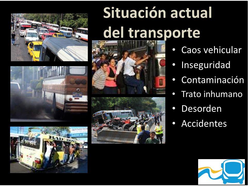 Caos vehicular Inseguridad Contaminación Trato inhumano Desorden Accidentes Situación actual del transporte