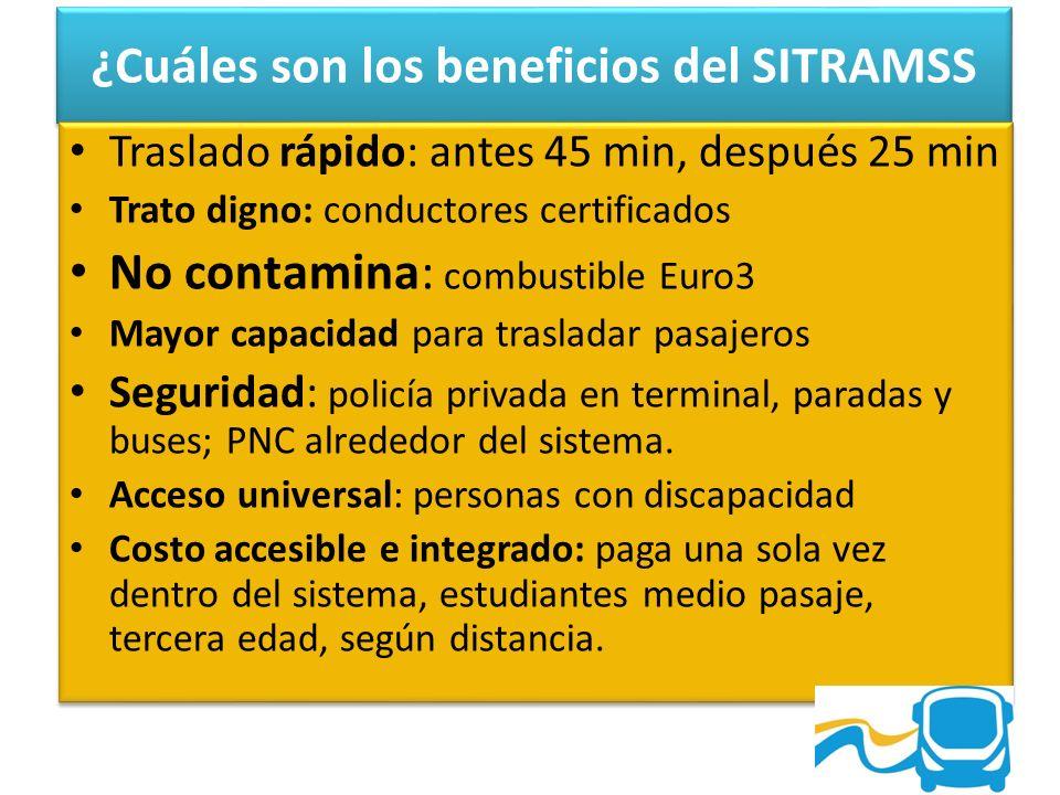 ¿Cuáles son los beneficios del SITRAMSS Traslado rápido: antes 45 min, después 25 min Trato digno: conductores certificados No contamina: combustible