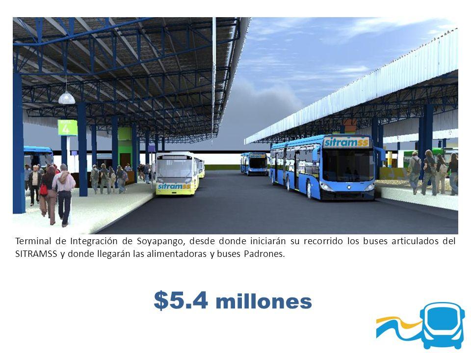 $5.4 millones Terminal de Integración de Soyapango, desde donde iniciarán su recorrido los buses articulados del SITRAMSS y donde llegarán las aliment