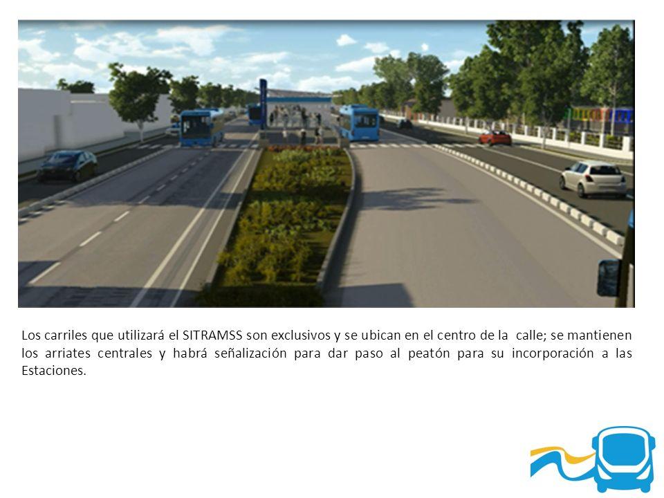 Los carriles que utilizará el SITRAMSS son exclusivos y se ubican en el centro de la calle; se mantienen los arriates centrales y habrá señalización p