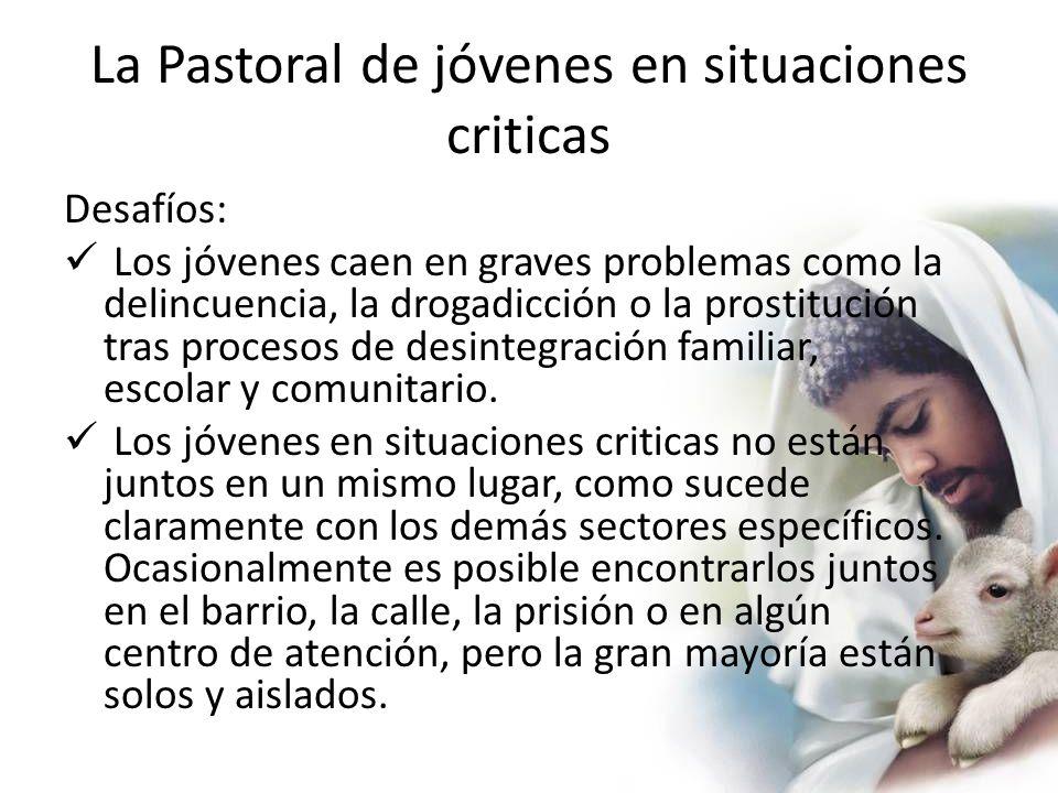 La Pastoral de jóvenes en situaciones criticas Desafíos: Los jóvenes caen en graves problemas como la delincuencia, la drogadicción o la prostitución