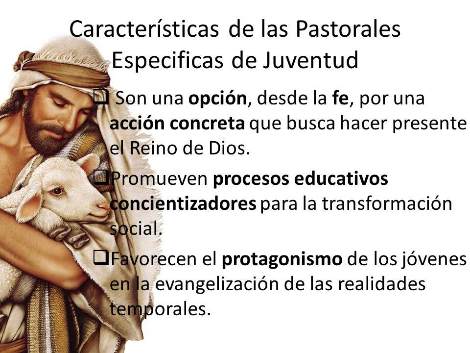 Características de las Pastorales Especificas de Juventud Impulsan una evangelización integral que proporcione medios, mística, alternativas y propuestas nuevas de estilo de vida y militancia.