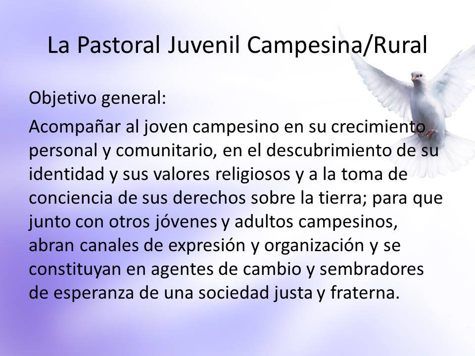 La Pastoral Juvenil Campesina/Rural Objetivo general: Acompañar al joven campesino en su crecimiento personal y comunitario, en el descubrimiento de s