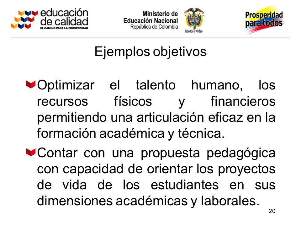 20 Ejemplos objetivos Optimizar el talento humano, los recursos físicos y financieros permitiendo una articulación eficaz en la formación académica y