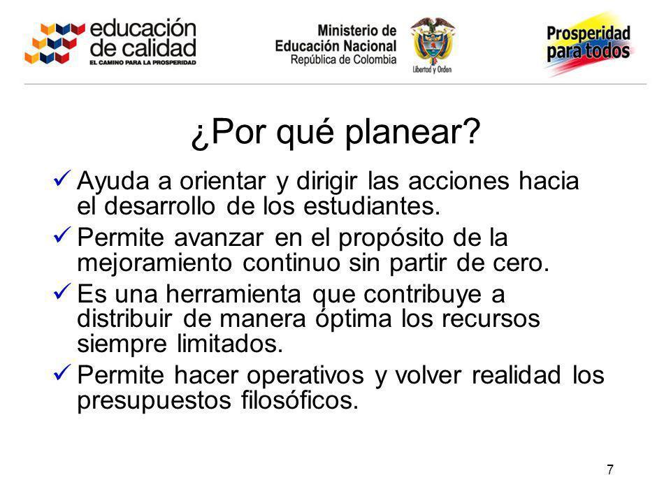 ¿Por qué planear? Ayuda a orientar y dirigir las acciones hacia el desarrollo de los estudiantes. Permite avanzar en el propósito de la mejoramiento c