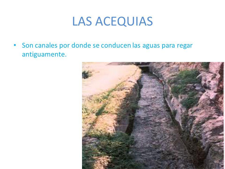 LAS ACEQUIAS Son canales por donde se conducen las aguas para regar antiguamente.