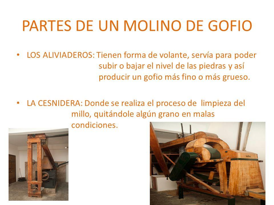PARTES DE UN MOLINO DE GOFIO LOS ALIVIADEROS: Tienen forma de volante, servía para poder subir o bajar el nivel de las piedras y así producir un gofio
