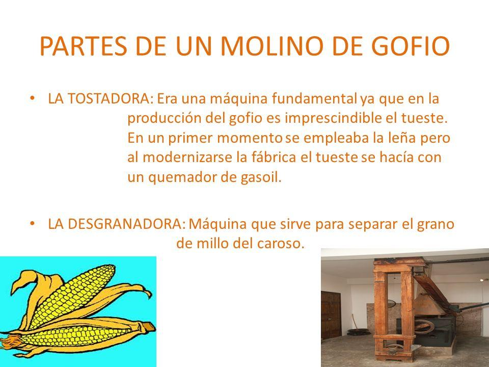 PARTES DE UN MOLINO DE GOFIO LA TOSTADORA: Era una máquina fundamental ya que en la producción del gofio es imprescindible el tueste. En un primer mom