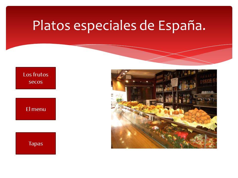 Platos especiales de España. Los frutos secos El menu Tapas