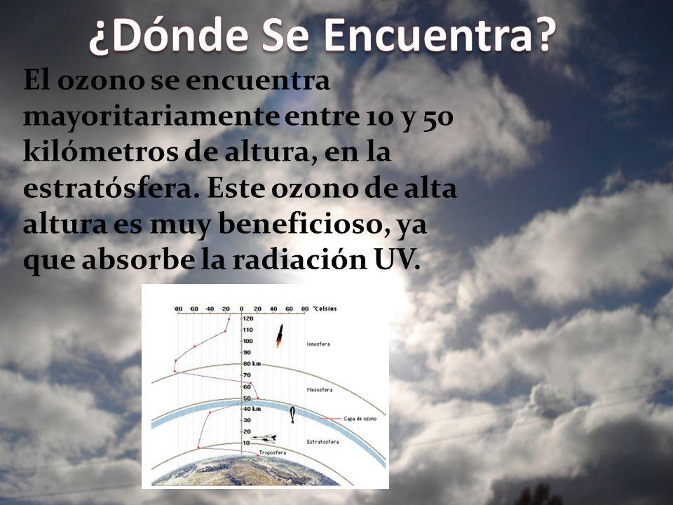 El ozono se encuentra mayoritariamente entre 10 y 50 kilómetros de altura, en la estratósfera. Este ozono de alta altura es muy beneficioso, ya que ab