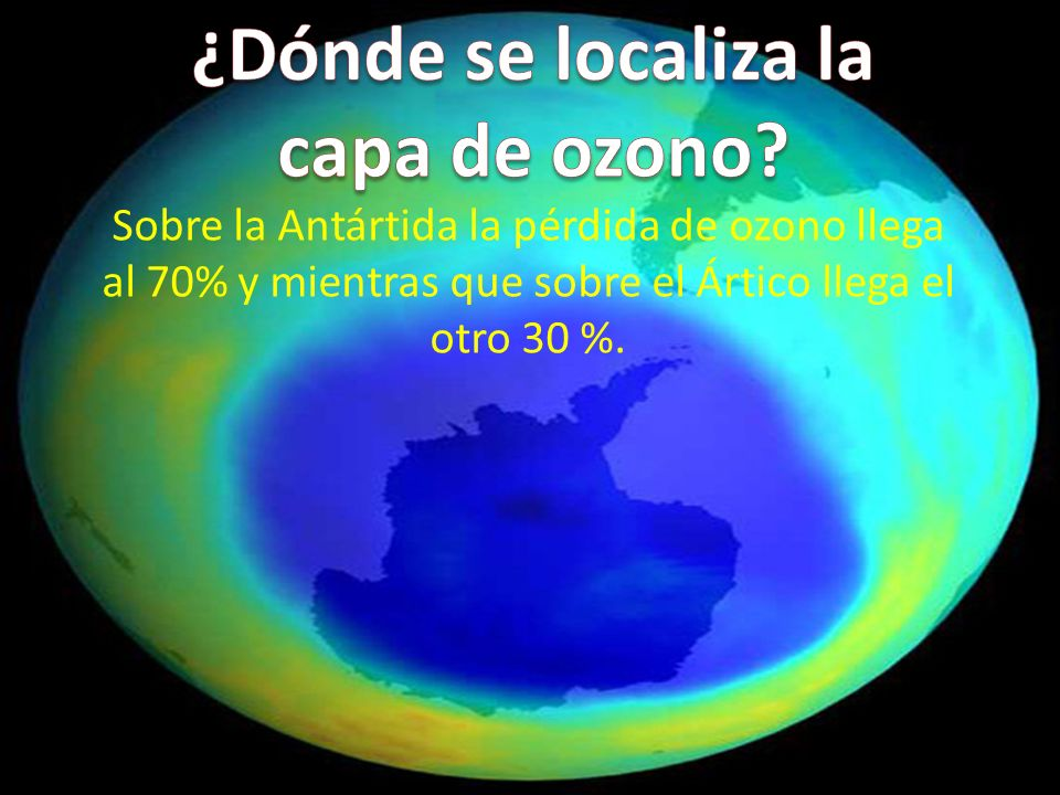 Sobre la Antártida la pérdida de ozono llega al 70% y mientras que sobre el Ártico llega el otro 30 %.