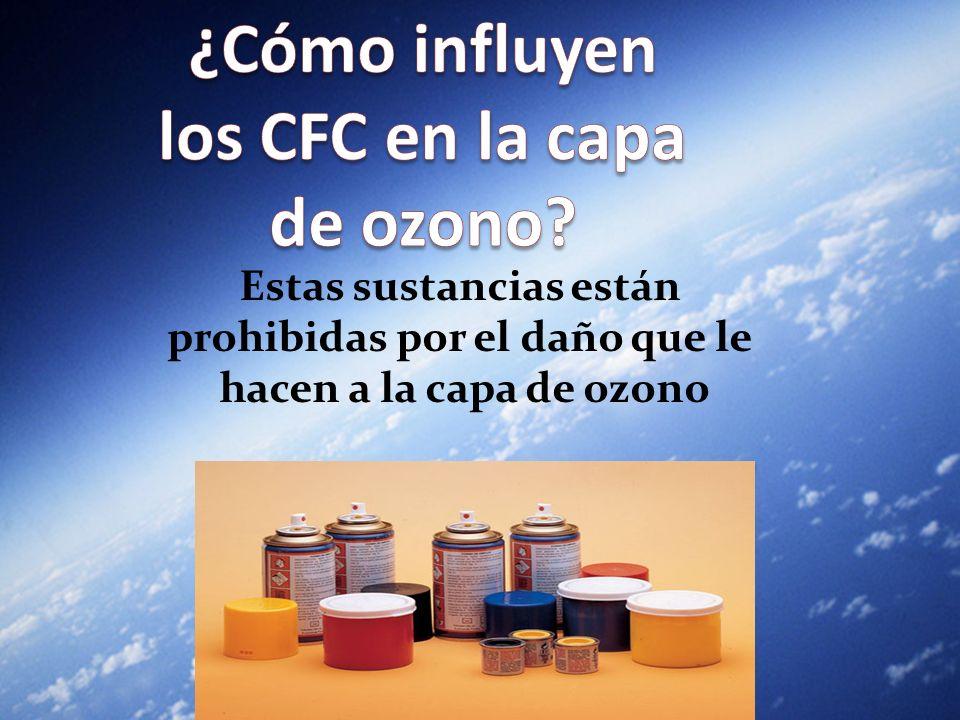 Estas sustancias están prohibidas por el daño que le hacen a la capa de ozono Estas sustancias están prohibidas por el daño que le hacen a la capa de