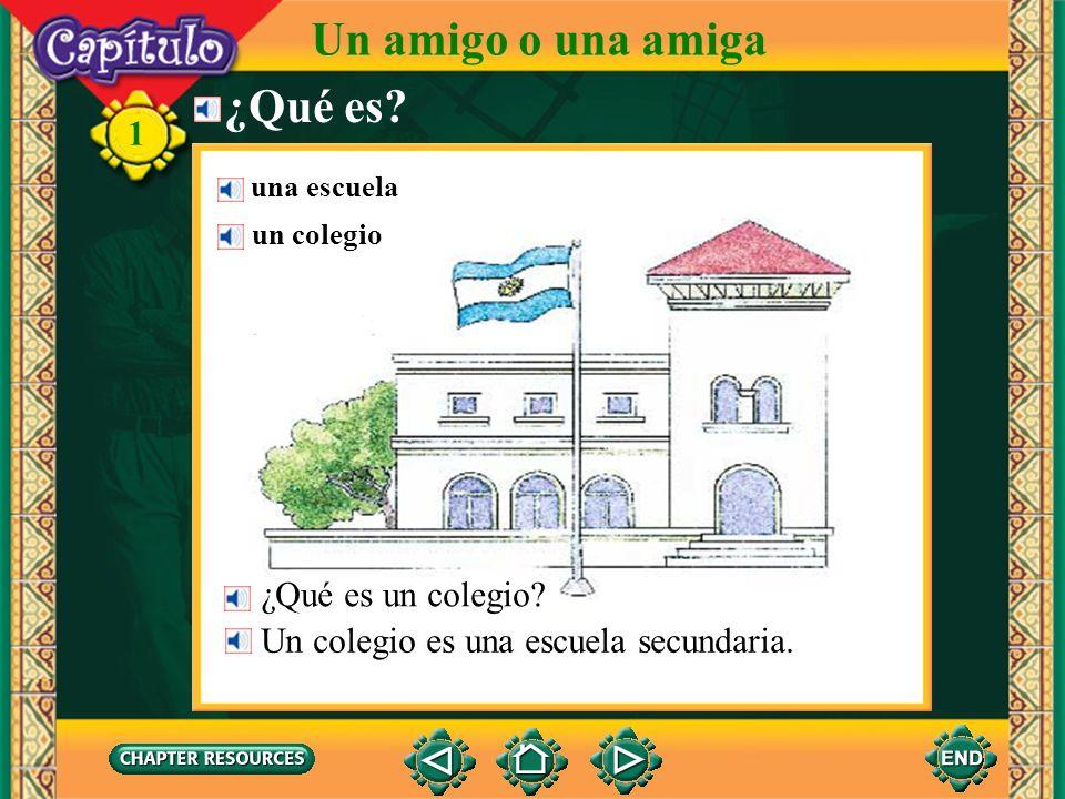 1 Complete with el, la, un, or una. 1. Un colegio es ______ escuela. Answer: una 2. ______ muchacha es chilena. No es colombiana. Answer: La 3. Es ___
