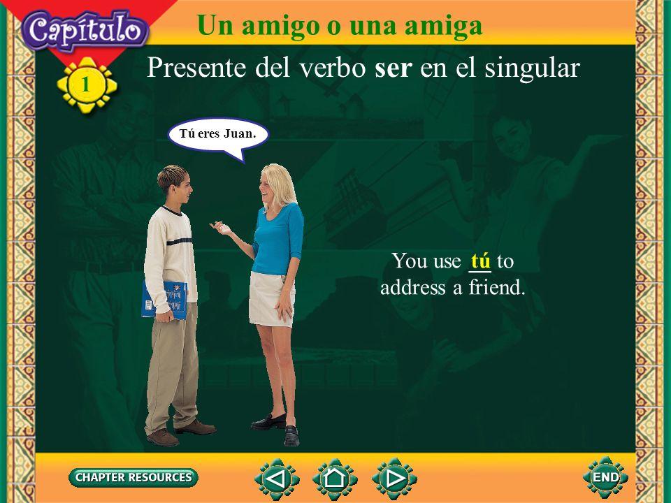1 Presente del verbo ser en el singular You use __ to talk about yourself. yo Yo soy Eugenio. Un amigo o una amiga