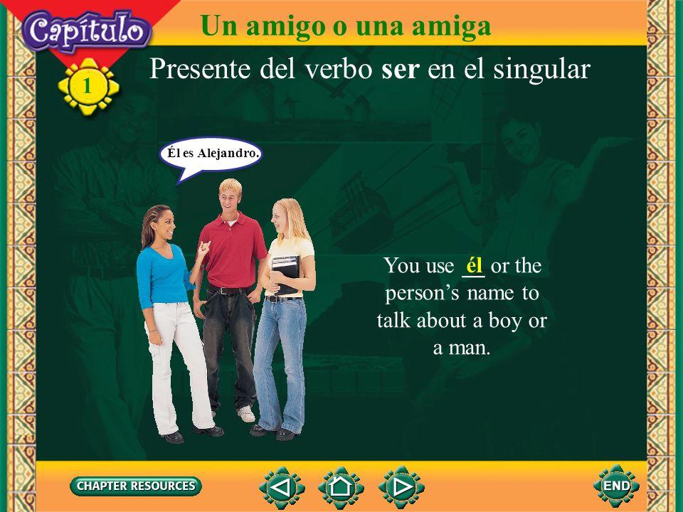 1 Presente del verbo ser en el singular You use __ to address a friend. tú Tú eres Juan. Un amigo o una amiga