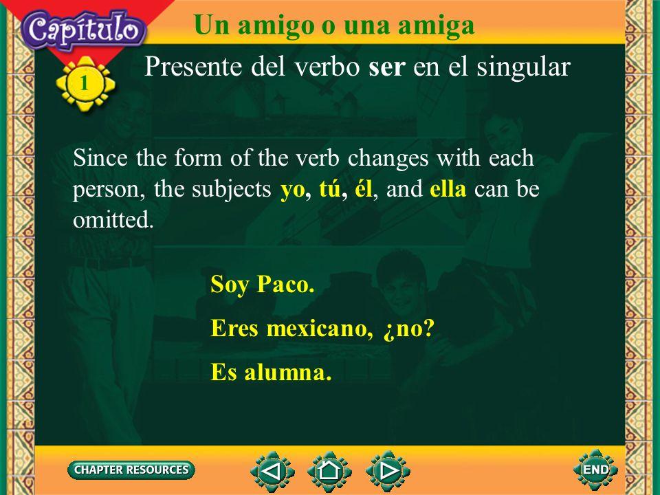1 Presente del verbo ser en el singular You use ____ or the persons name to talk about a girl or a woman. ella Ella es una alumna seria. Un amigo o un