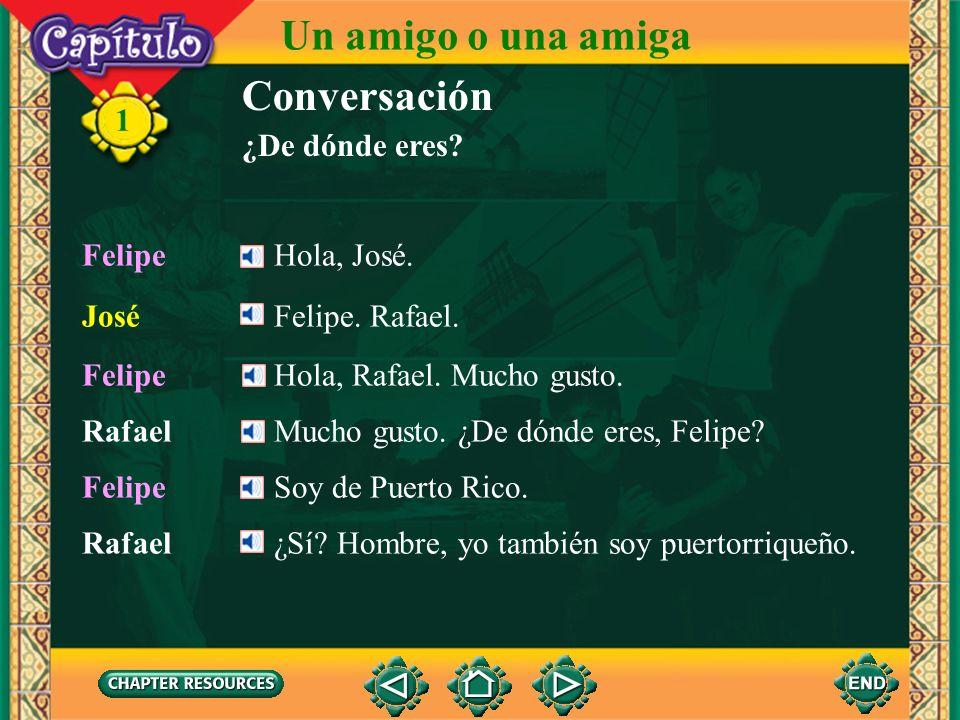 1 Rafael¡Hola, José! ¿Qué tal, amigo? JoséBien, Rafael. José¿Quién? ¿El rubio? RafaelOye, José. ¿Quién es el muchacho alto allí? RafaelSí, él. Un amig