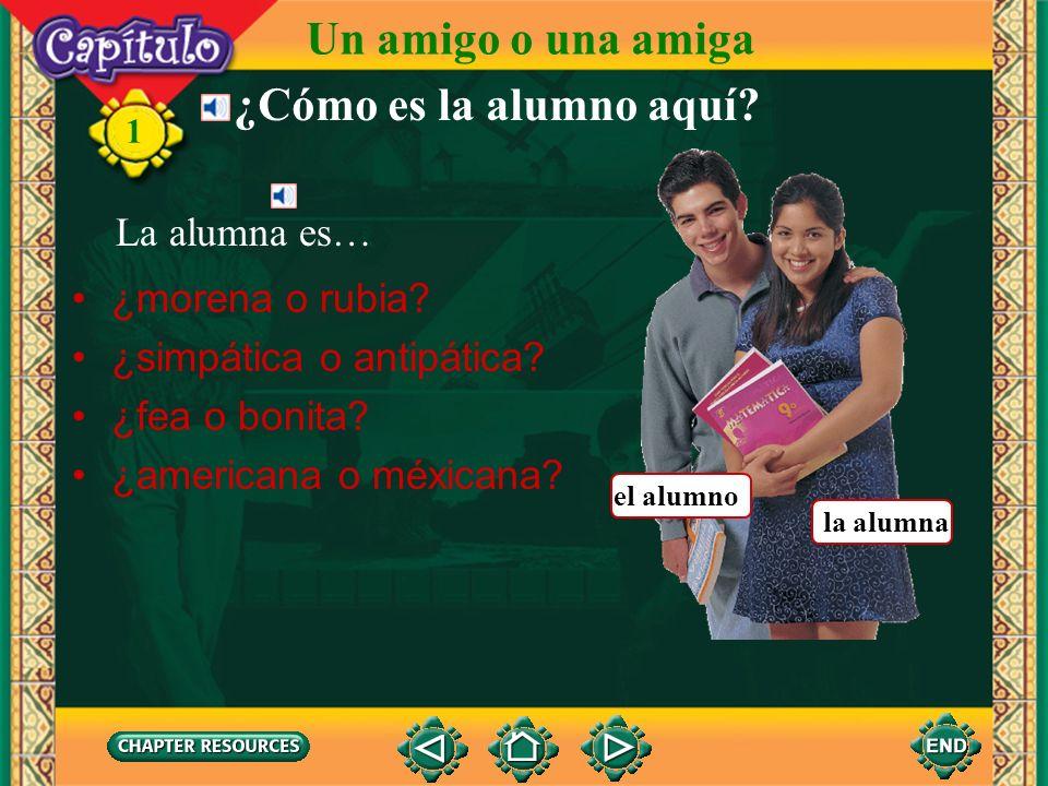 1 Un amigo o una amiga ¿Cómo es el alumno aquí? El alumno es… la alumna el alumno ¿moreno o pelirrojo? ¿bajo o alto? ¿guapo o feo? ¿gordo o flaco?