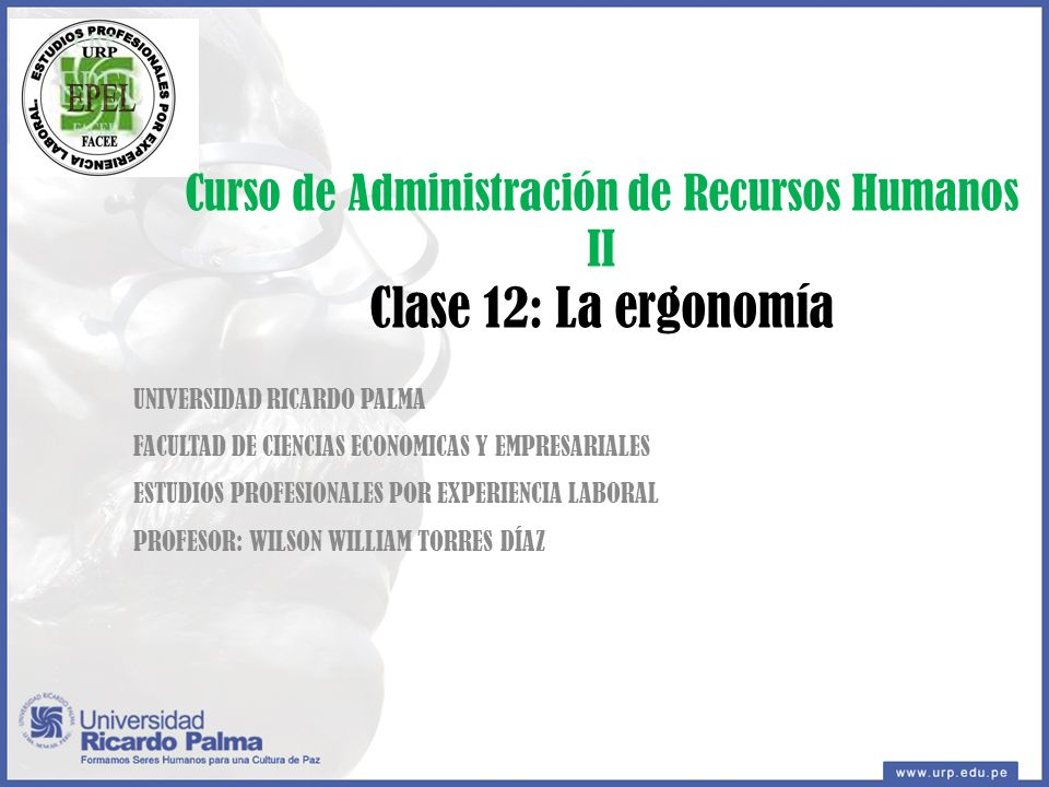 Curso de Administración de Recursos Humanos II Clase 12: La ergonomía UNIVERSIDAD RICARDO PALMA FACULTAD DE CIENCIAS ECONOMICAS Y EMPRESARIALES ESTUDIOS PROFESIONALES POR EXPERIENCIA LABORAL PROFESOR: WILSON WILLIAM TORRES DÍAZ