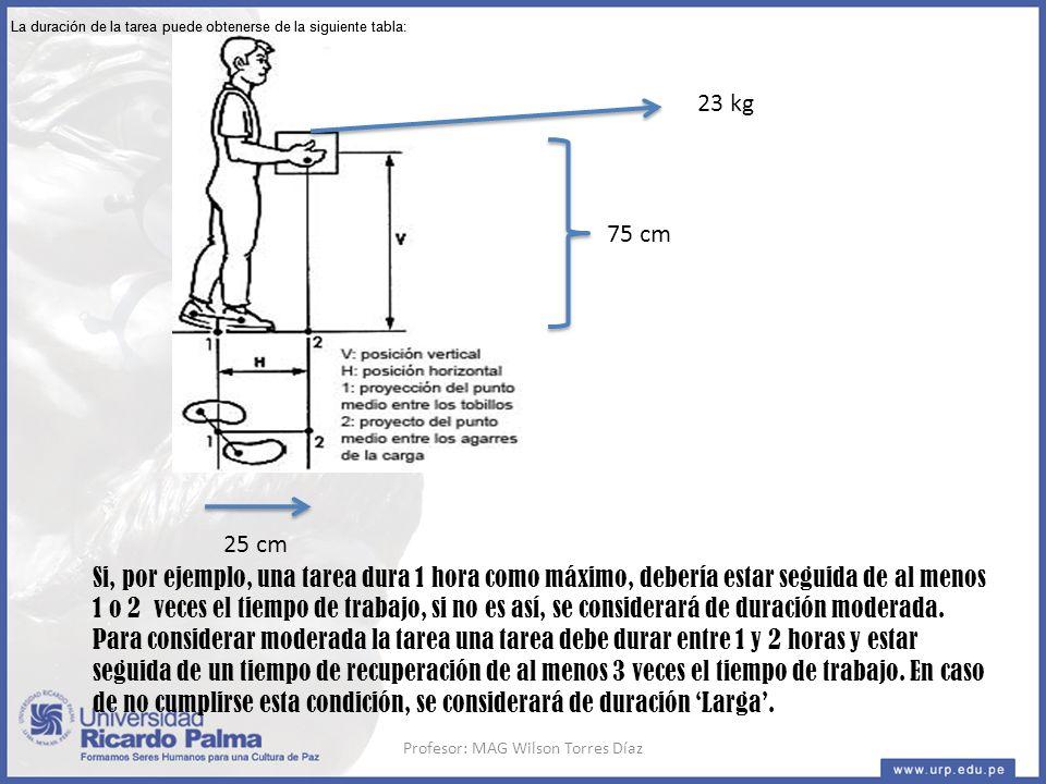 75 cm 25 cm 23 kg Si, por ejemplo, una tarea dura 1 hora como máximo, debería estar seguida de al menos 1 o 2 veces el tiempo de trabajo, si no es así, se considerará de duración moderada.