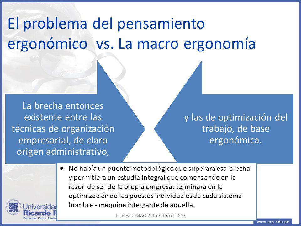 La brecha entonces existente entre las técnicas de organización empresarial, de claro origen administrativo, y las de optimización del trabajo, de base ergonómica.