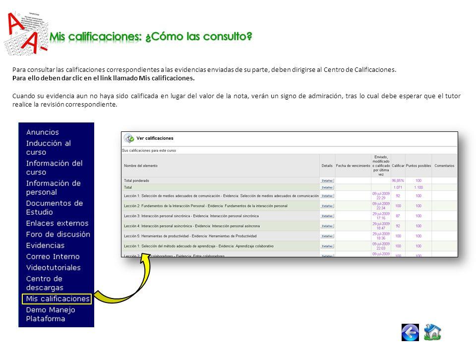 Para consultar las calificaciones correspondientes a las evidencias enviadas de su parte, deben dirigirse al Centro de Calificaciones.