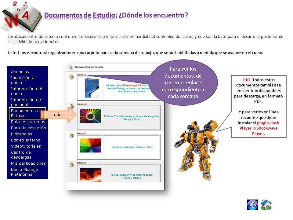 Los documentos de estudio contienen las lecciones o información primordial del contenido del curso, y que son la base para el desarrollo posterior de las actividades o evidencias.
