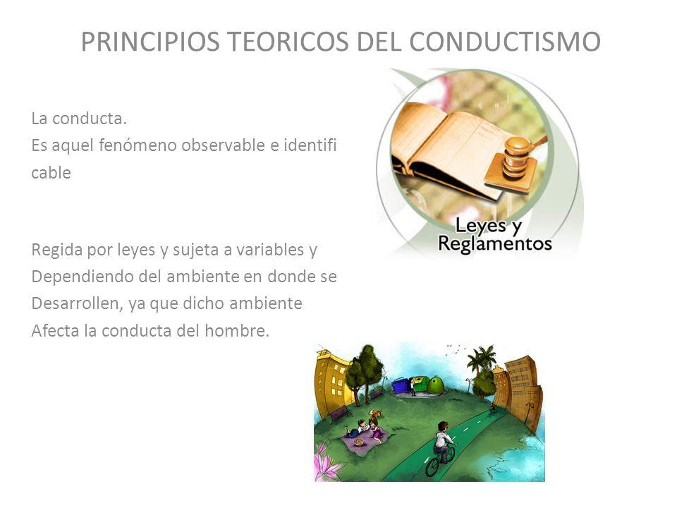 PRINCIPIOS TEORICOS DEL CONDUCTISMO La conducta. Es aquel fenómeno observable e identifi cable Regida por leyes y sujeta a variables y Dependiendo del