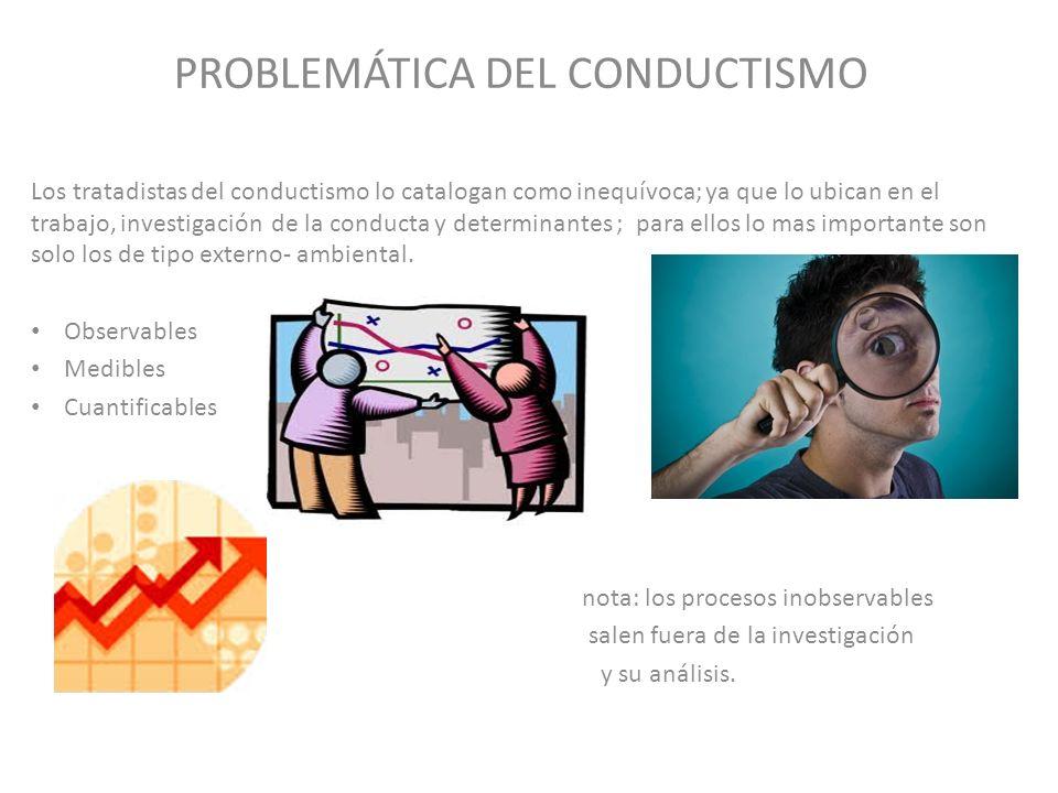 PROBLEMÁTICA DEL CONDUCTISMO Los tratadistas del conductismo lo catalogan como inequívoca; ya que lo ubican en el trabajo, investigación de la conduct