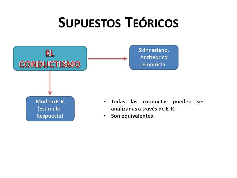 S UPUESTOS T EÓRICOS Skinneriano. Antiteórico Empirista Modelo E-R (Estimulo- Respuesta) Todas las conductas pueden ser analizadas a través de E-R. So