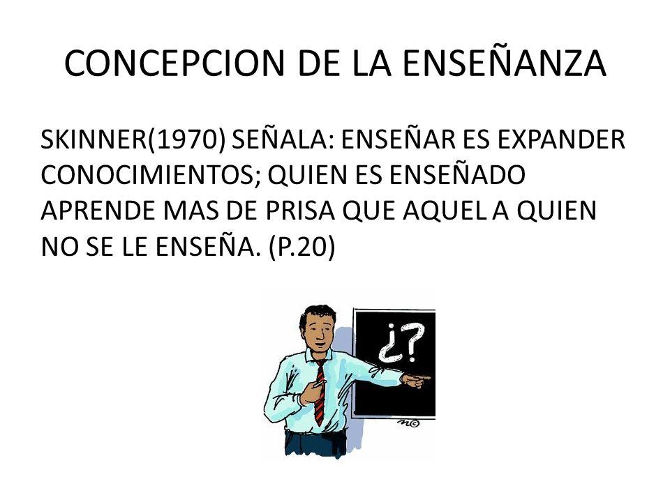 CONCEPCION DE LA ENSEÑANZA SKINNER(1970) SEÑALA: ENSEÑAR ES EXPANDER CONOCIMIENTOS; QUIEN ES ENSEÑADO APRENDE MAS DE PRISA QUE AQUEL A QUIEN NO SE LE